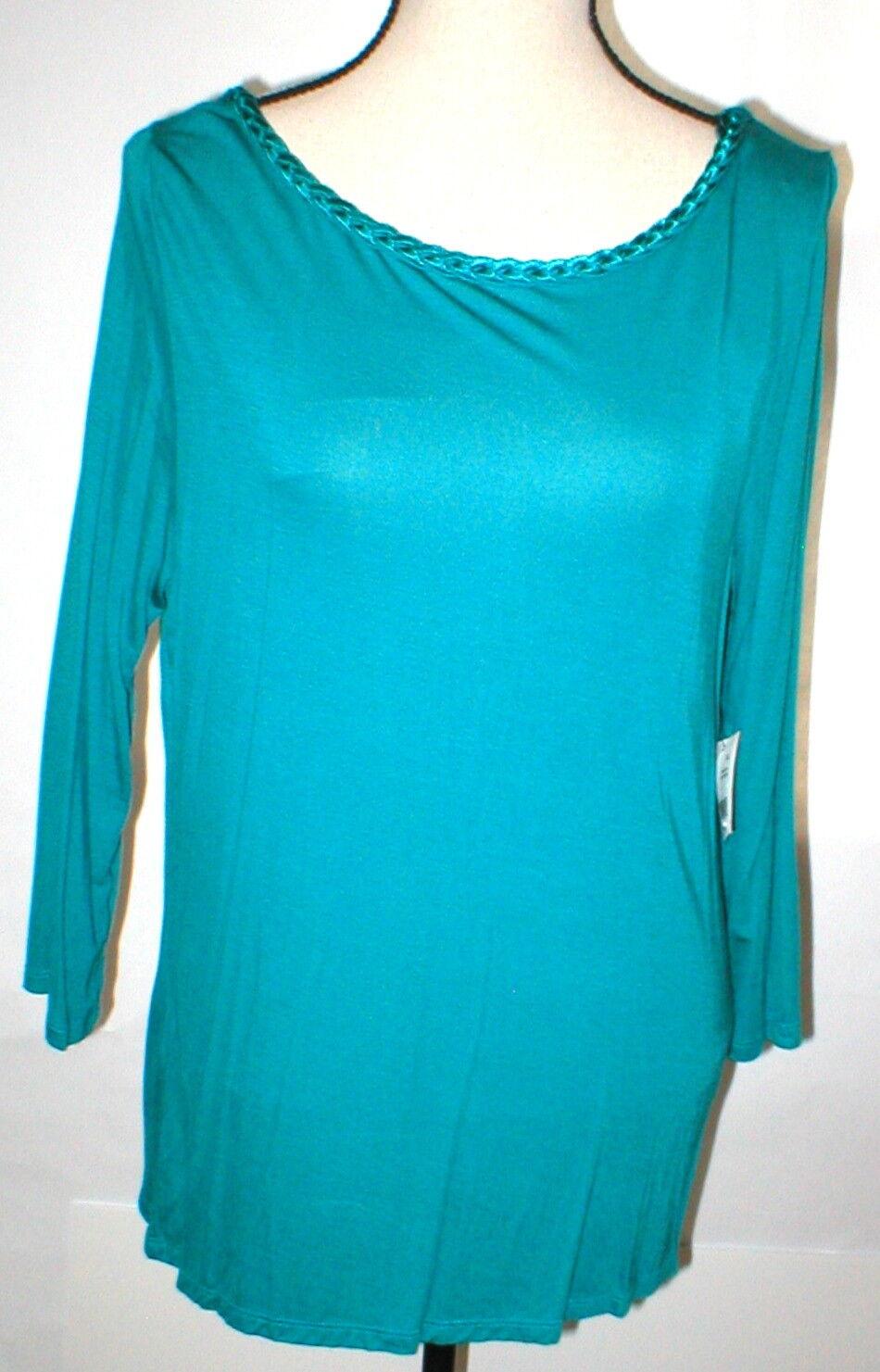 damen New Small S Aqua Blau Dark NWT  Tahari Blouse Top Braided Neck Sleeves