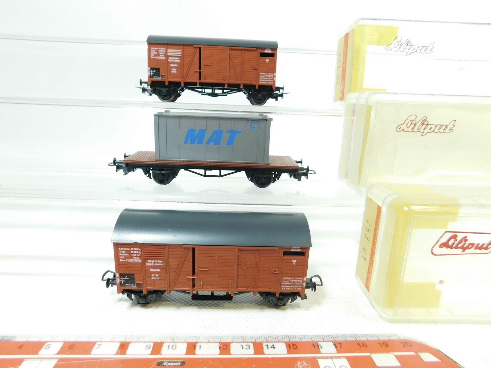 Bj140-1  3x Liliput h0 dc CARRO MERCI DRG  20311 MAT + 25301, molto bene + OVP