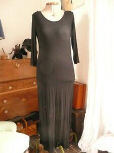 H-amp-M-Maxi-Dress-Size-10-Black-Jersey-T-Shirt-dress-Festival-Hippy-Goth-Emo