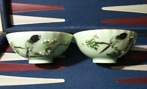 Japanese-Porcelain-Sake-Cup-Celadon-Green-Saki-Rice-Bowl-Fine-China-Set-Vintage