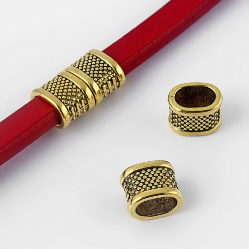 10Pcs Dots Slider Spacer Perles 10.5x6.7mm Bracelet Findings For Licorice Cuir