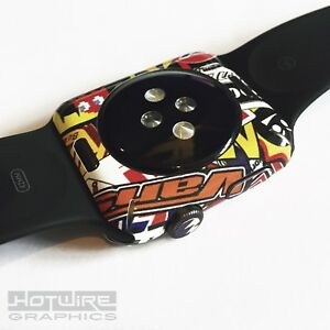 APPLE-WATCH-Stickerbomb-Print-Skin-Wrap-42mm-ONLY-Armour-Protection-UK-Made