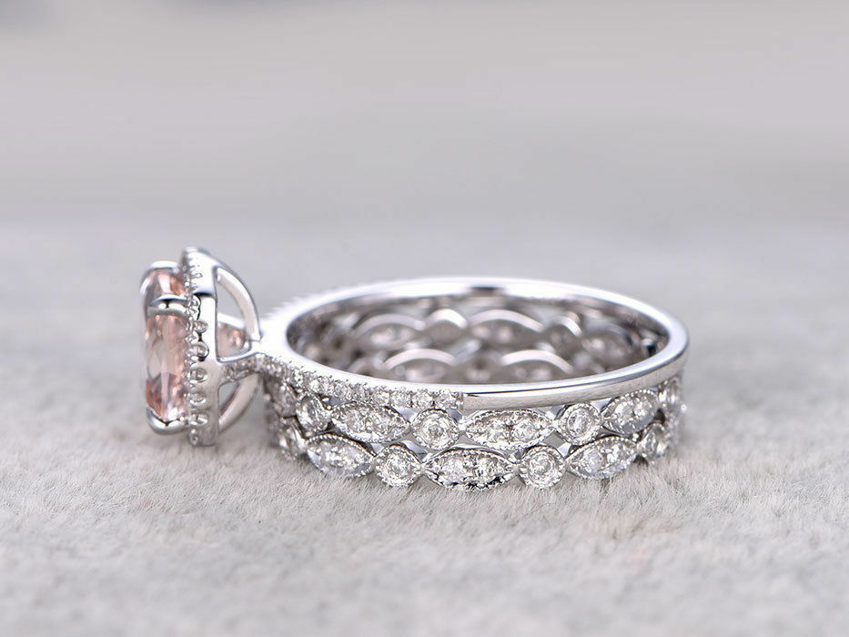Art Deco Cushion Morganite and Diamond 14K White gold Over Wedding Trio Ring Set