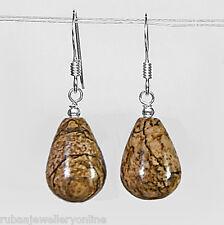 925 STERLING SILVER GENUINE PICTURE JASPER SMOOTH BRIOLETTE / DROP EARRINGS