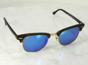 00cf35b233 Image is loading RAY-BAN-Havana-Blue-Flash-Mirror-Clubmaster-Tortoise-