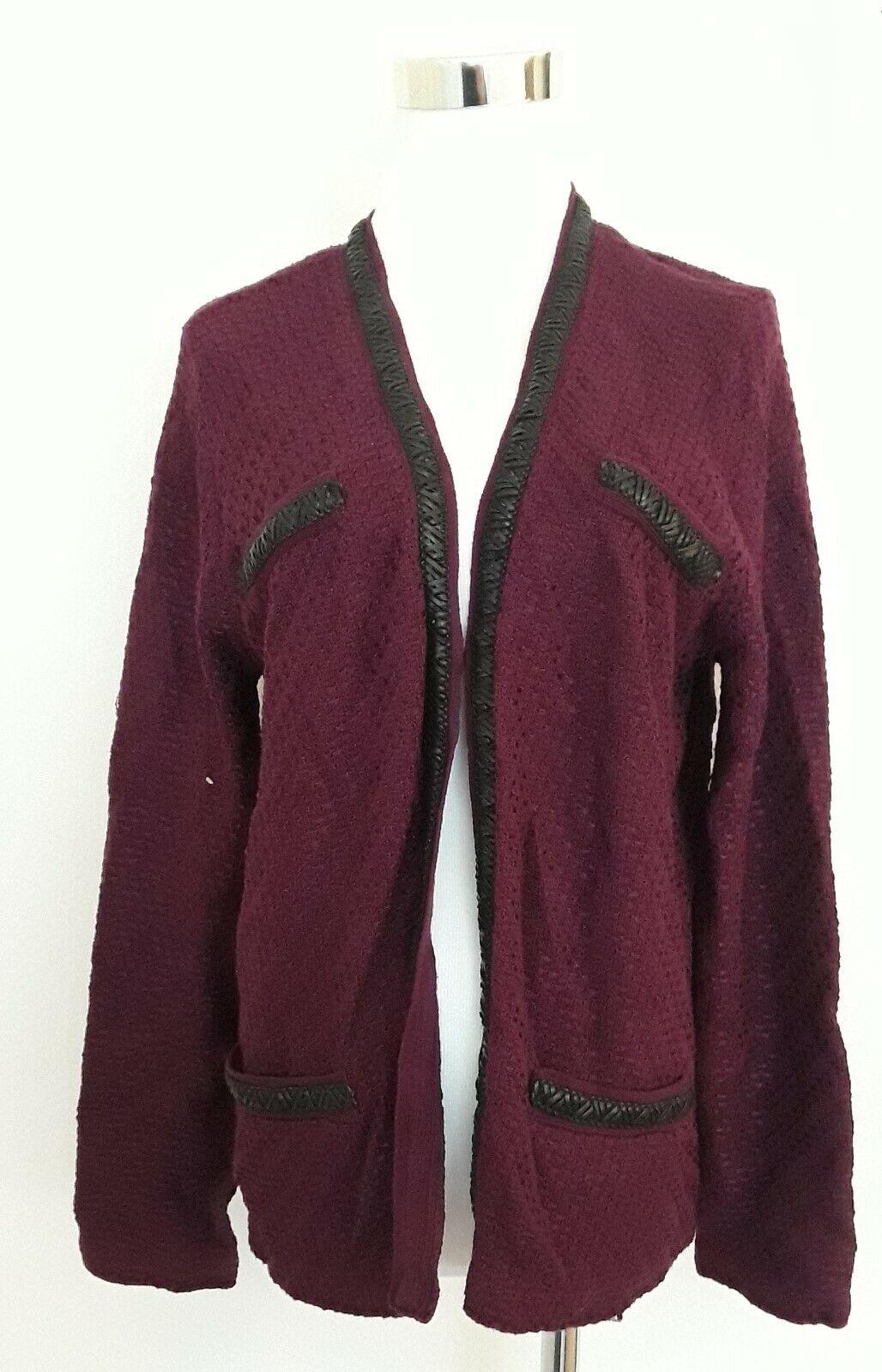 Jons New York Cardigan Faux Leather Trim Long Sleeve Plum Wine XL
