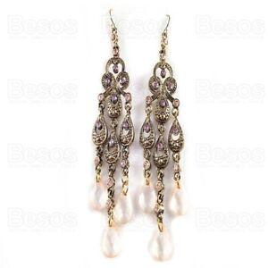 BIG ANTIQUE GOLD FASHION long retro earrings GYPSY CHANDELIER ornate boho pink