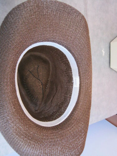 Ladies Cool Summer Cowboy Straw style Hat Brown Woven Polyester med to lg