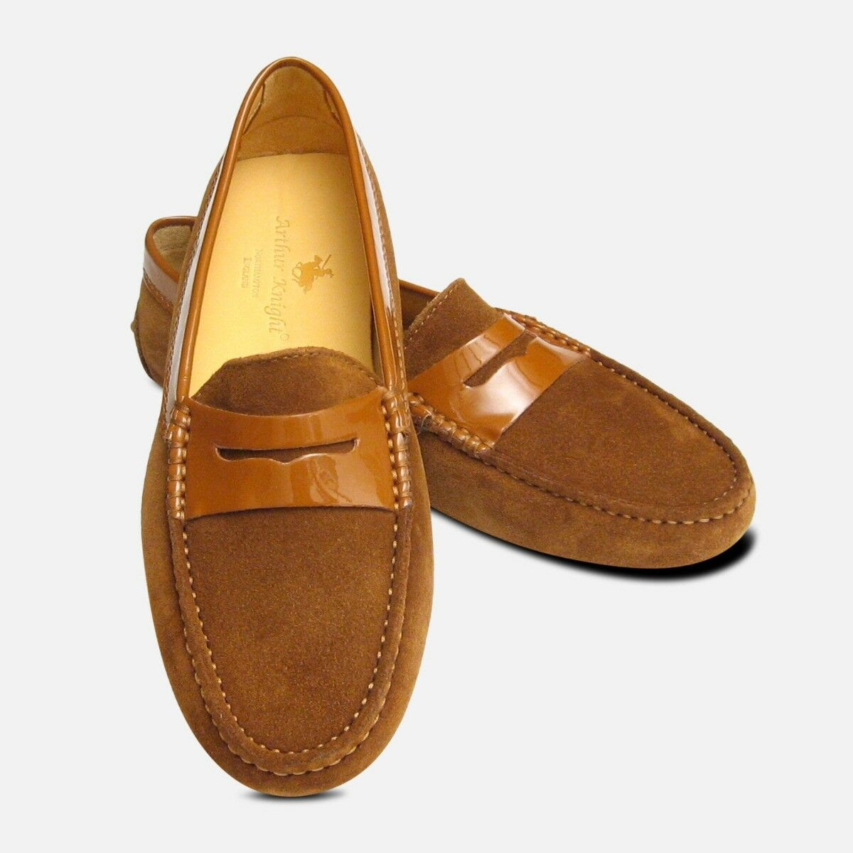 Brown suede & patent Arthur knight women's italian driving shoes
