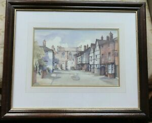 Original-old-Watercolour-painting-Northgate-West-Midlands-A-D-Houghton-framed