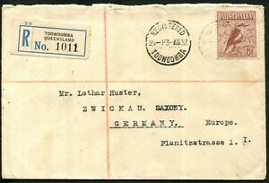 Australia 1932 (Aug.) registered cover to Germany with 6d Kookaburra, SG.146
