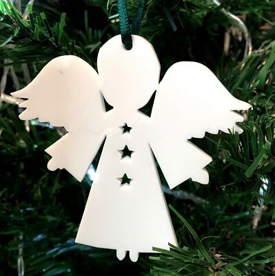 Angel Xmas Decs & Green Ribbon, Pack Of 10, Lime, Orange, Red Or White