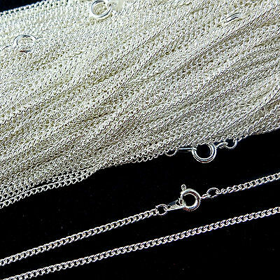 Top Quality .925 Sterling Silver Plated Necklace Curb Chain 16 18 24 Inch