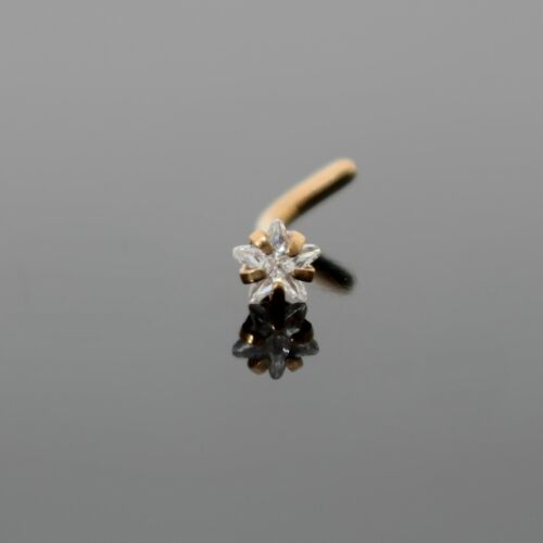 18G 14K ROSE GOLD IP 3MM SIMULATED DIAMOND STAR L SHAPED BENT NOSE STUD