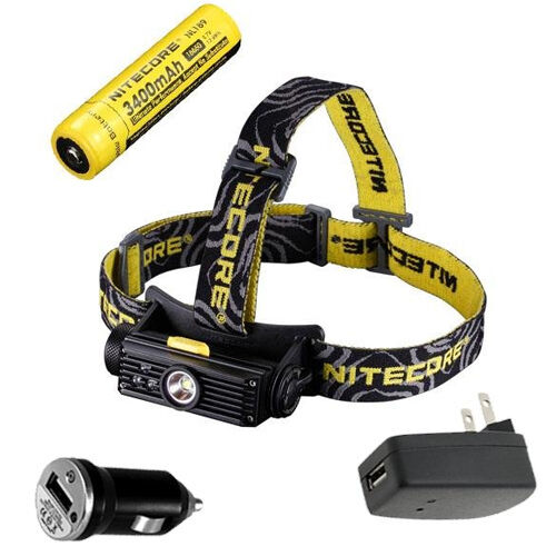 Nitecore HC90 Rechargeable Headlamp w NL189 Battery +USB Car & Wall Adaptors