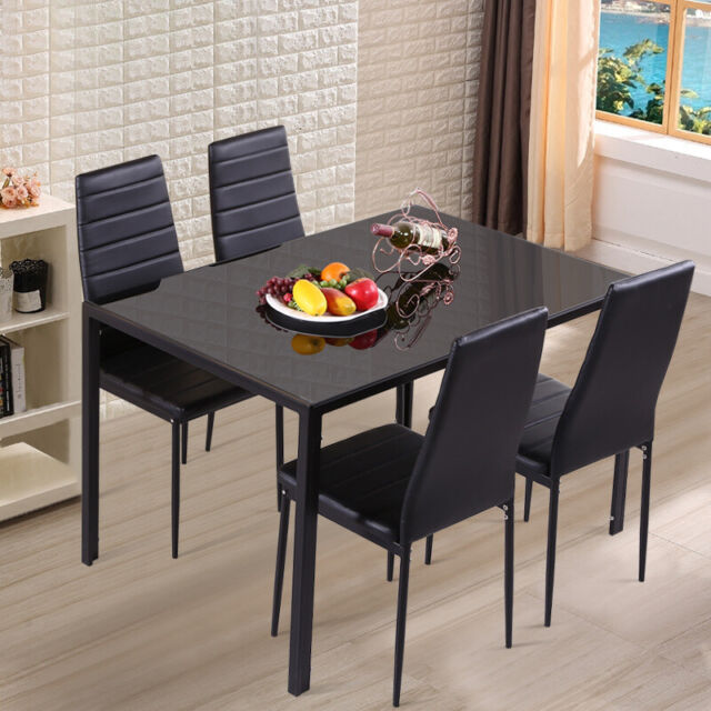 4 6 Seater Dining Room Set Kitchen Black Glass Table Faux Leather Chair Suit Kit