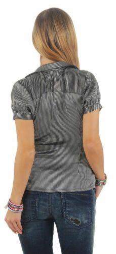 11181 Leichte Kurzarm Bluse Hemdbluse elastischer Stretch tailliert gestreift
