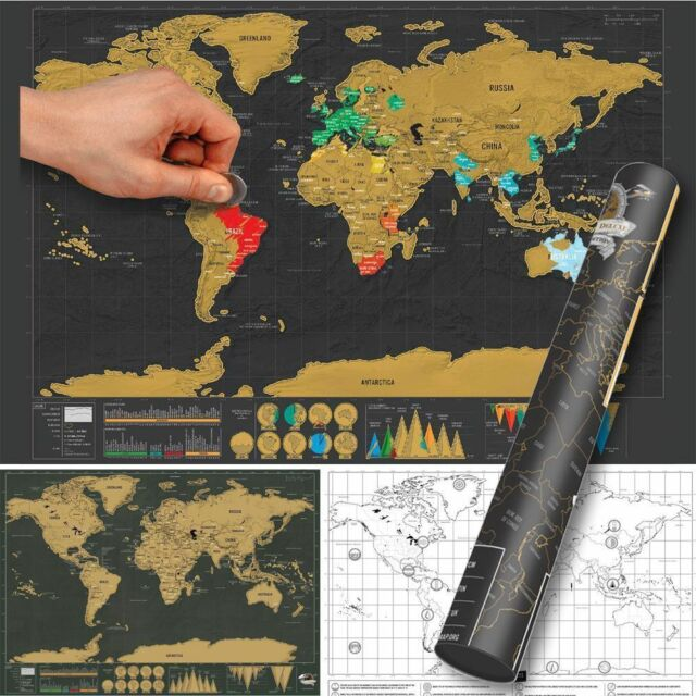 Deluxe Travel Edition Scratch off World Map Poster Personalized