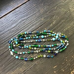 Vintage-Long-Glass-Beaded-Necklace-WOW-Unsigned