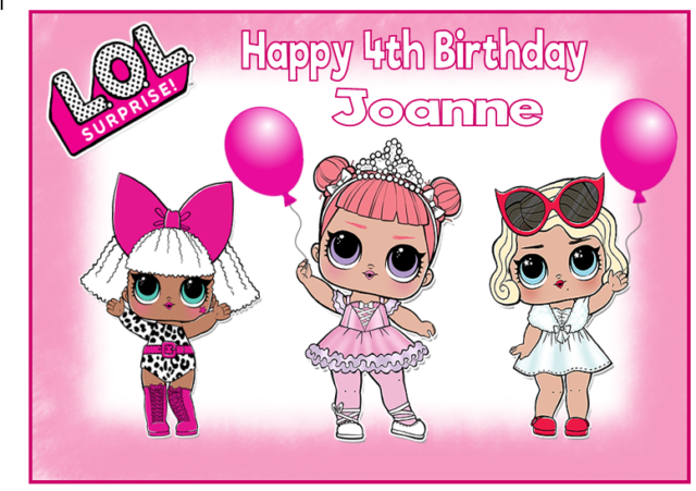 Edible Lol Surprise Dolls A4 Personalised Birthday Party