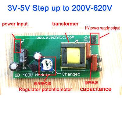 High Voltage DC-DC Boost Converter 3V-5V Step up to 200V-620V Power adjustable
