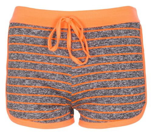New Womens Ladies Line Fleck Holiday Summer Hot Pants Workout Runner Shorts