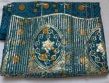Blue BANDHANI SARI/SAREE with Pale Gold Sequin Work/Fabric /Haberdashery