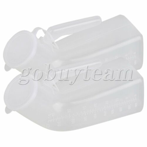 2pcs Male Urinal Holder Clear Plastic Bottle 1000ml Camping Car Travel Toilet