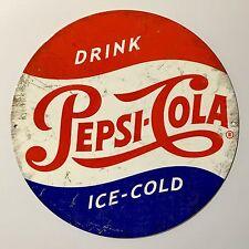 Pepsi Cola Drink Pepsi-Cola Ice-Cold - Tin Metal Wall Sign