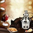 New Chocolate Fountain Stainless Steel 3-Tier Mini Fondue Home Desert HOT SALE