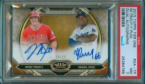 2015-Topps-Tier-One-MIKE-TROUT-YASIEL-PUIG-Dual-Auto-25-25-Rare-PSA-7