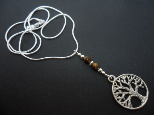 NEW. A LOVELY TIBETAN SILVER  TREE OF LIFE /& TIGERS EYE  BEAD  NECKLACE