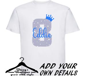 Personalised Custom Children/'s T shirt Top Boy 8th Birthday Age Blue Grey Star
