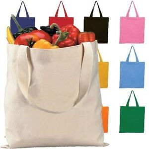 2ed13b6141 Cotton Reusable Grocery Blank Tote Bag Set Of 12 -For-Beach-School ...