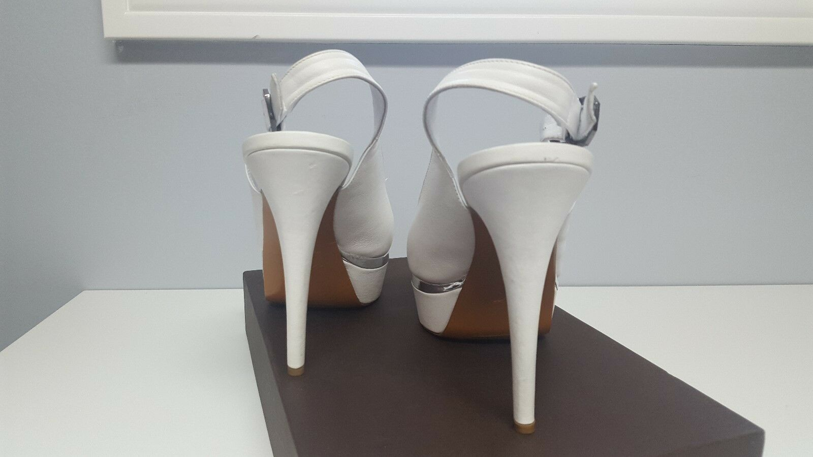 Nando Nando Nando Muzi Leder Weiß Sandales Heels Italian Designer EU 38.5 US 8.5 80f6e2