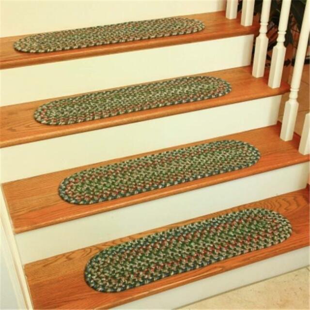 Rhody Rug KA63A008X028-13 Katie Multi Braided Stair Tread Sage - Set Of 13