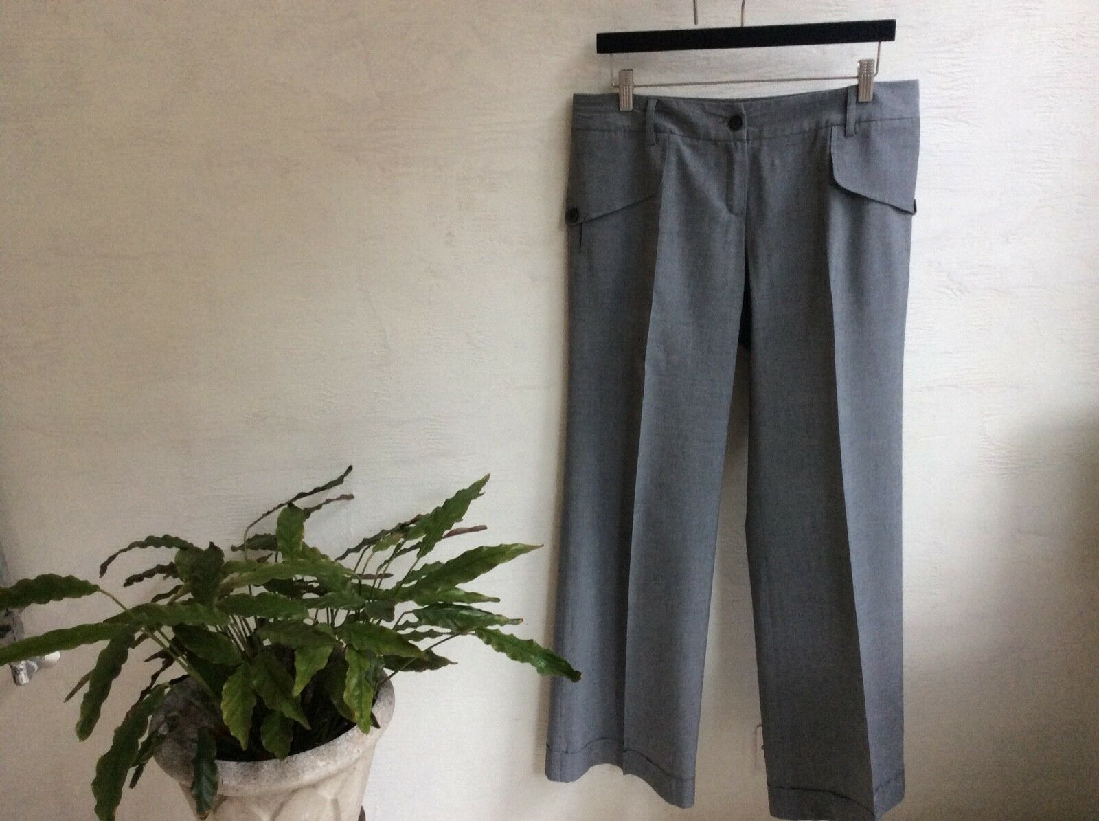 Barbara Bui Initials grey lightweight wool trousers UK12