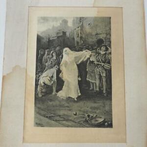 Antique Photo Etching On Silk Spanish Gypsy Fedalma Dancing by W.L. Taylor