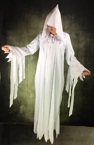 Erwachsene Damen Weiß Ghost Scary Mary Nonnenkostüm Robe mit Kapuze Hexe Kostüm