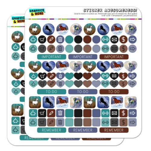 Horse Art in Lightning Snow Planner Calendar Scrapbooking Crafting Sticker Set