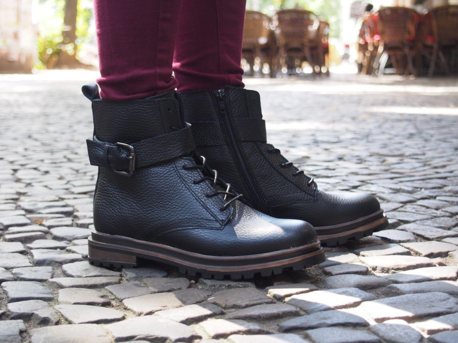 SPM Schuhe BBIM Lace Boot black schwarz Echtleder Stiefelette NEU Bnkle Boot