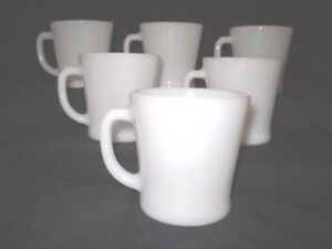 SET OF 6 FIRE KING ANCHOR HOCKING WHITE OPAL D HANDLE MUGS SHINY & EXCELLENT!