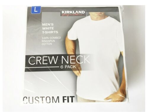 6Packs KIRKLAND SIGNATURE Mens Crew Neck White T-Shirts 4 Size
