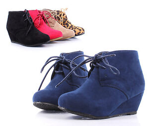 navy lace up wedge high heels ankle boots youth