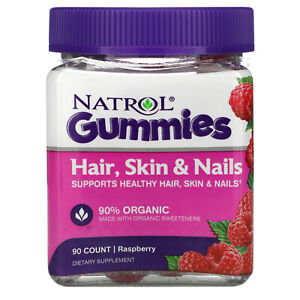Natrol, Gummies, Hair, Skin & Nails, Raspberry, Total 90 Count