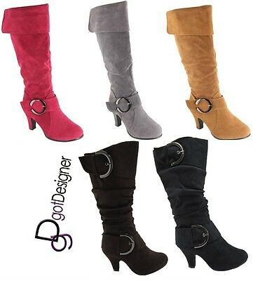 NEW Womens Fashion Mid Calf Knee High Boots Shoes High Heels Foldable Buckle