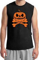 Mens Halloween Pumpkin Skeleton Muscle T-Shirt