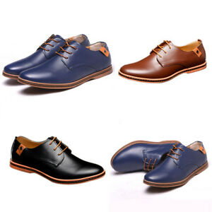 New-Men-s-Oxfords-Lace-up-Casual-Leather-Shoes-Business-Dress-Work-Flats-Loafers