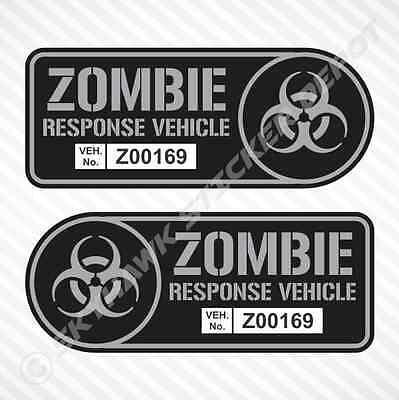 "8"" Zombie Response Vehicle Sticker Set Vinyl Decal Gun Metal Walking Dead Truck"