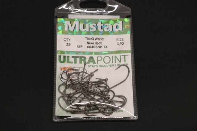 Mustad 60403NP-TX TitanX Wacky Neko Hook Size 2//0  Pack of 25 Bass Hooks